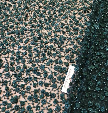 Green beade lace fabric. Photo 8