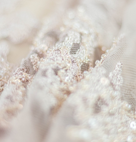 Nude organic pattern embroidery with sequins on tulle fabric. Photo 9