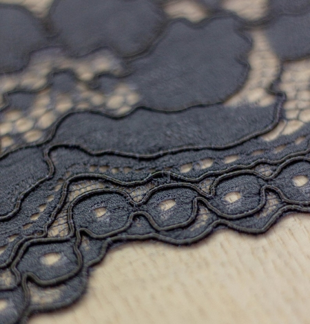 Dark blue floral guipure lace on black organza fabric. Photo 4
