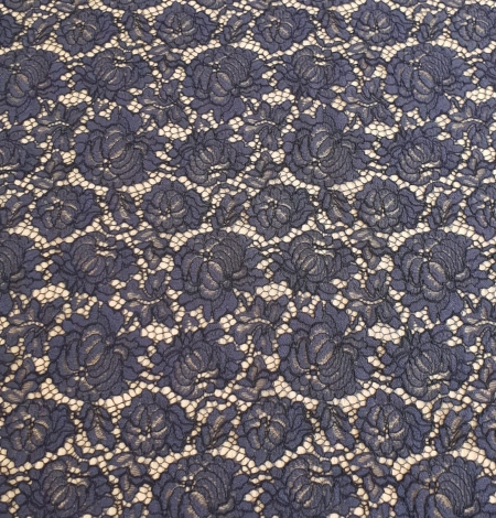 Bluish grey cotton polyester chantilly lace fabric . Photo 6