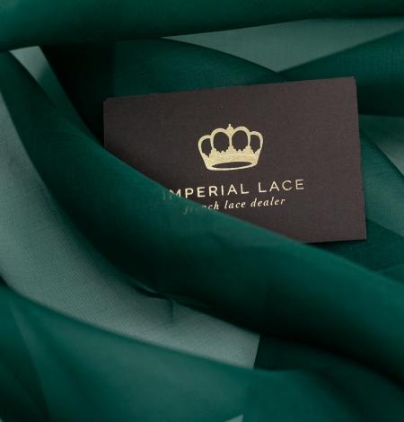Emerald green silk organza fabric. Photo 5