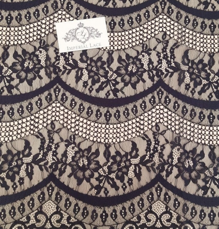 Black lace fabric, French Lace, Alencon Lace. Photo 6