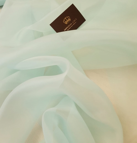 Mint green silk organza for embroidery . Photo 3
