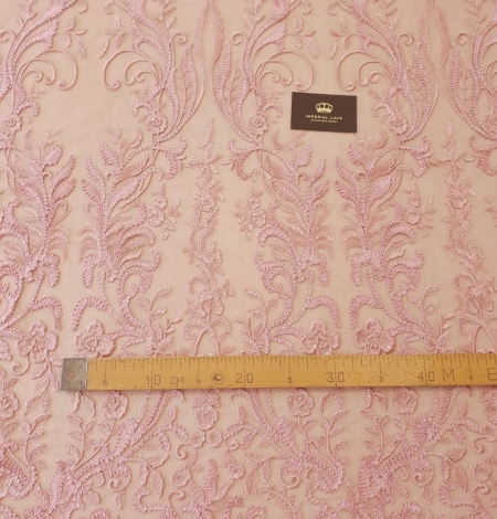Raspberry pink floral pattern embroidery with sequins on soft tulle fabric. Photo 9