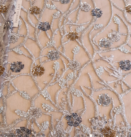 Grey beaded lace fabric. Photo 2