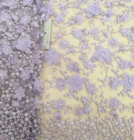 Purple beaded 3D floral lace fabric. Photo 1