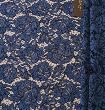 Dark blue cord thread lace fabric. Photo 8