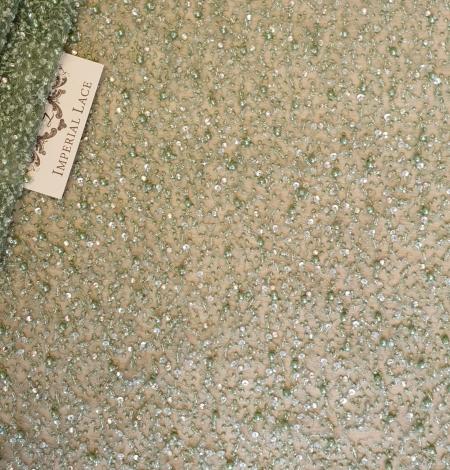 Green beaded lace fabric. Photo 1