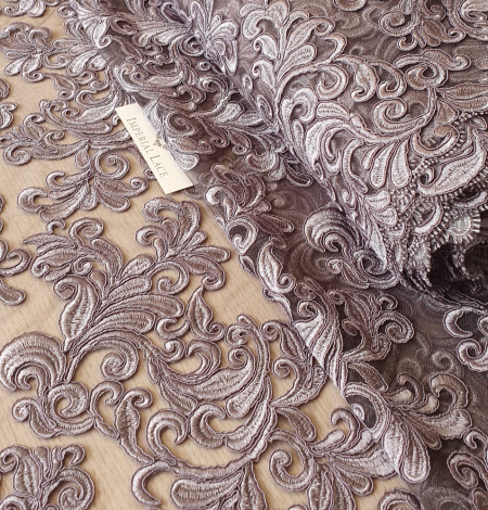 Grey embroidery lace fabric. Photo 7