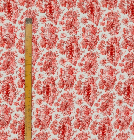 Red with orange shade printed silk crepe fabric. Photo 9