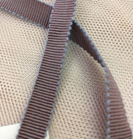 Chocolate brown grosgrain with grey ribbon. Photo 2