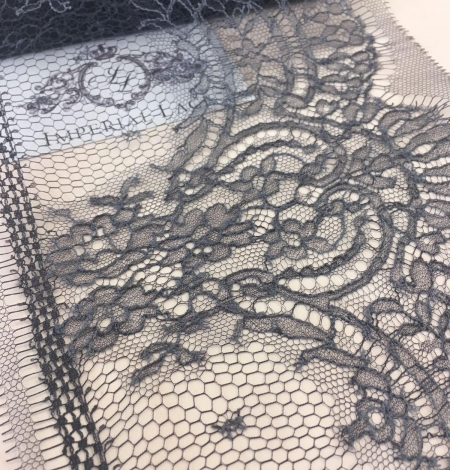 Grey Chantilly Lace Trim from France. Photo 1