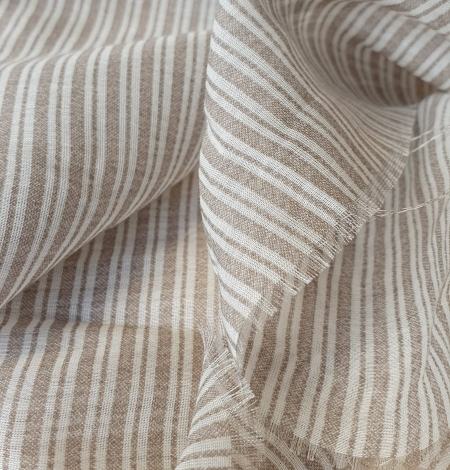 Grey with white stripes viscose fabric. Photo 8