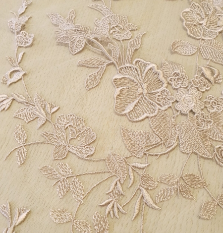 Dark powder nude floral pattern embroidery on tulle fabric. Photo 5