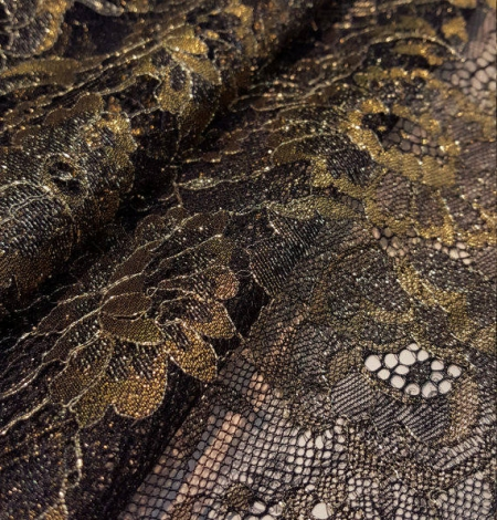 Black with gold embroidered chantilly lace. Photo 1
