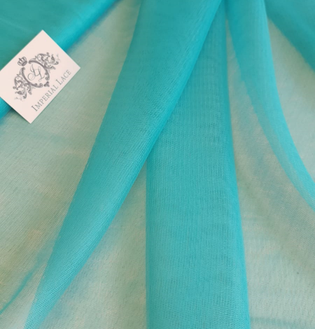 Turquoise silk tulle fabric. Photo 4