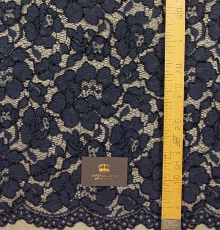Dark blue floral guipure lace on black organza fabric. Photo 8