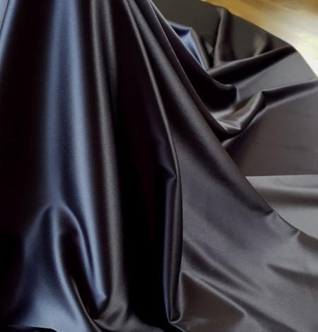 Dark blue satin fabric with elastane . Photo 4