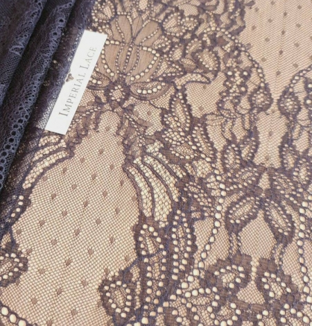 Navy blue lace fabric, French lace fabric. Photo 5