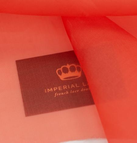 Vibrant orange silk organza fabric. Photo 4