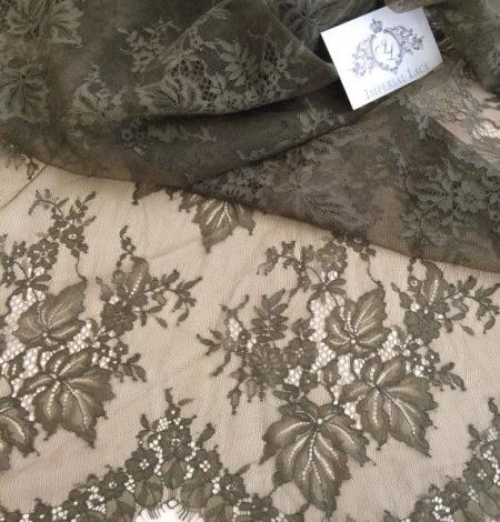 Tobacco green lace fabric. Photo 3