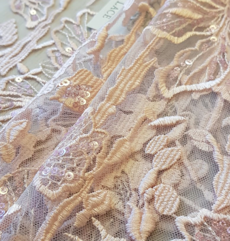 Pink embroidery on light grey tulle. Photo 2
