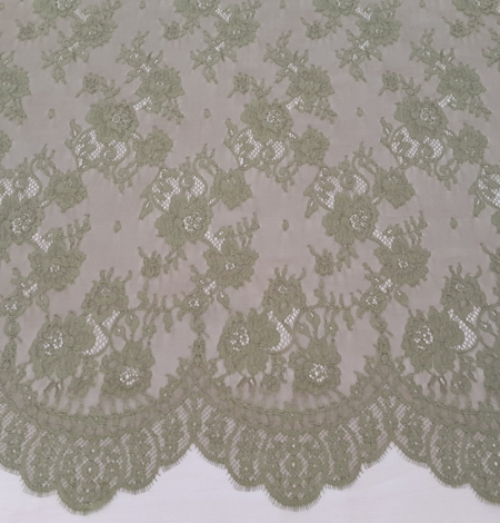 Lace fabric sludge green color. Photo 2