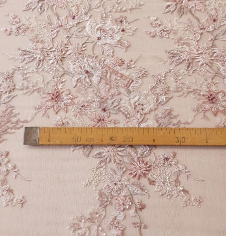 Pink beaded floral lace fabric. Photo 13