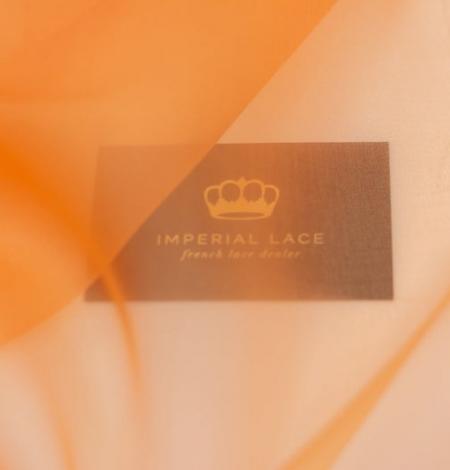 Orange silk organza fabric. Photo 7