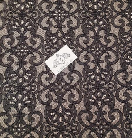 Black geometric lace fabric. Photo 2
