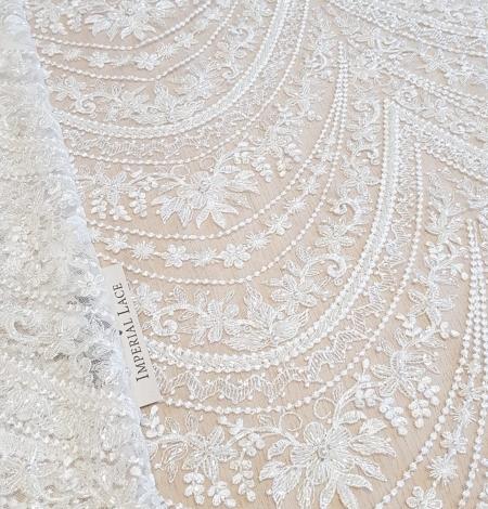 Ivory beaded lace fabric. Photo 1