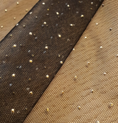 Black with gold dotted pattern tulle fabric. Photo 10