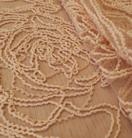Light peach color big floral pattern thick thread embroidery on tulle fabric. Photo 4