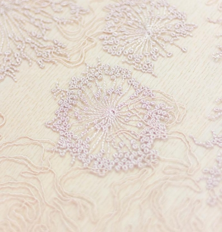 Old rose floral pattern embroidery with sequin on tulle fabric. Photo 5