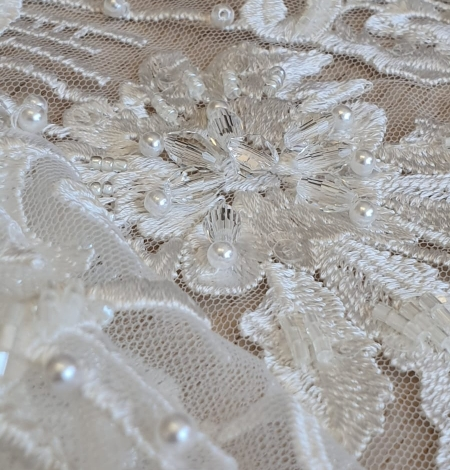 Ivory beaded embroidery on tulle fabric . Photo 2