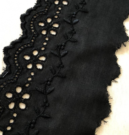 Black cotton lace trim. Photo 4