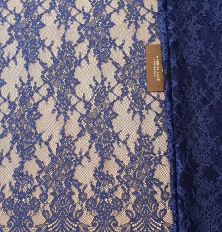 Blue 100% polyester floral chantilly lace fabric. Photo 5