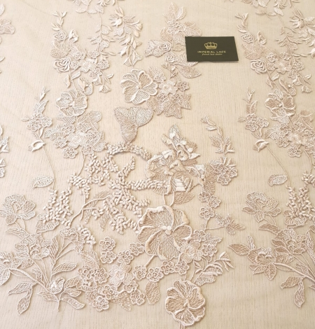 Dark powder nude floral pattern on tulle fabric. Photo 7