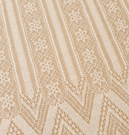 Ivory 100% polyester stripes and flowers guipure lace fabric. Photo 5