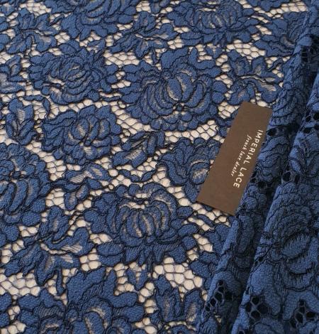 Dark blue cord thread lace fabric. Photo 1