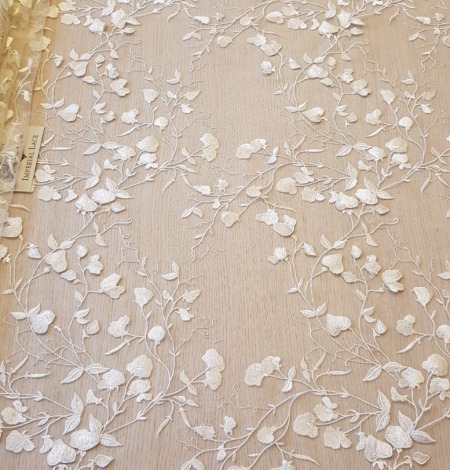 White 3D lace fabric. Photo 6