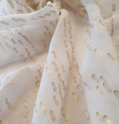 Ivory with gold dots silk crepe chiffon fabric. Photo 7