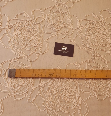 Light peach color big floral pattern thick thread embroidery on tulle fabric. Photo 11