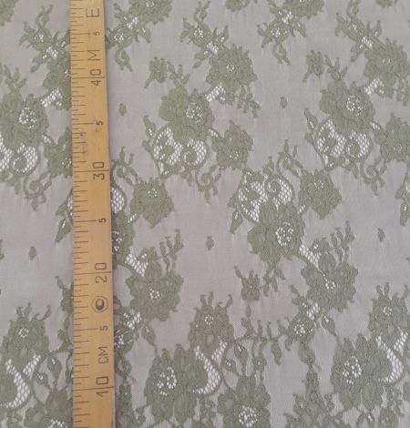 Lace fabric sludge green color. Photo 4