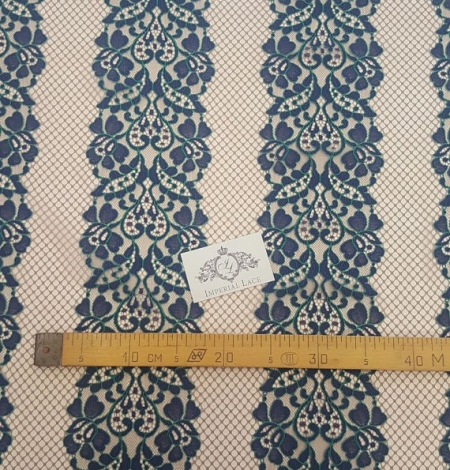 Navy Blue Lace Fabric. Photo 4