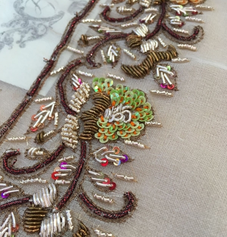 Hand made zardozi embroidery base on silk organza. Photo 1