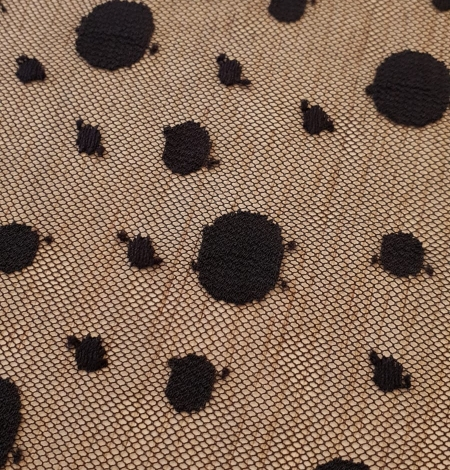 Black 100% polyester abstract circle pattern tulle fabric. Photo 6