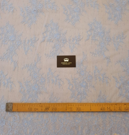 light blue floral pattern chantilly lace fabric. Photo 6