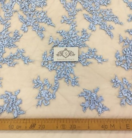 Light blue with crystals embroidery on tulle fabric. Photo 3