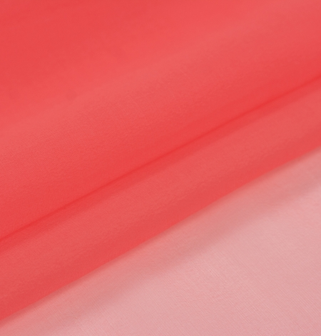 Coral orange silk organza fabric. Photo 6